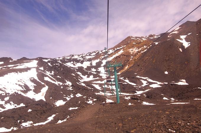 mit der Seilbahn hinauf zum Etna