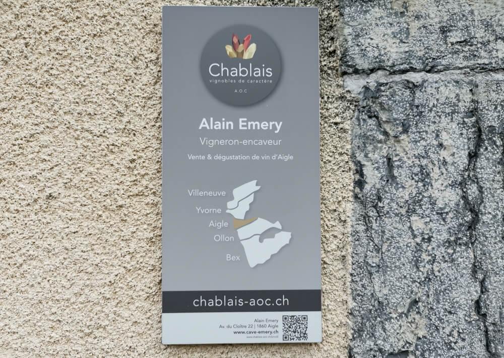 Cave Alain Emery, Aigle, Waadt -Karte mit dem Chablais Gebiet