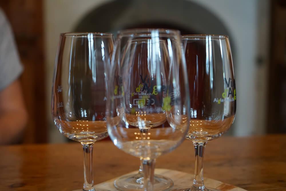 Cave Alain Emery, Aigle, Waadt - Weintasting und Weingläser