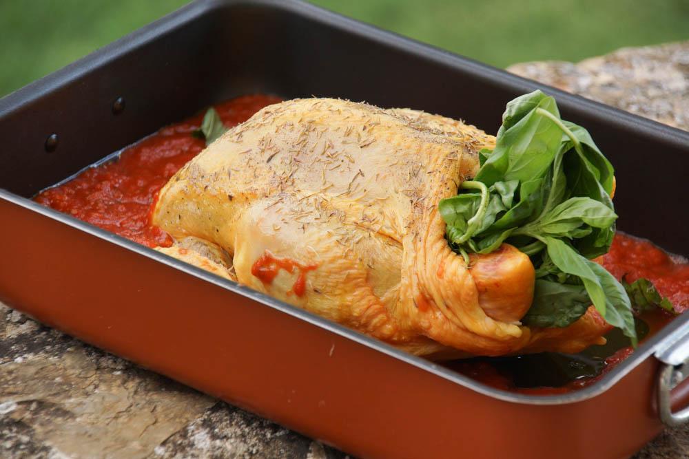 Bio-Hähnchen mit Basilikum gefüllt und Tomatensoße