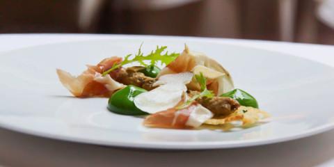 Le Chapon Fin Restaurant - Steinpilze, Olivenölbrot und Pata Negra