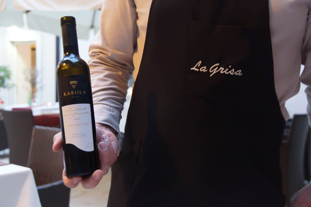 Kabola Dessertwein Istrien im La Grisa Restaurant