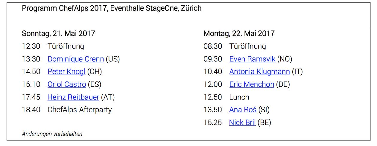 ChefAlps Zürich 2017 Programm