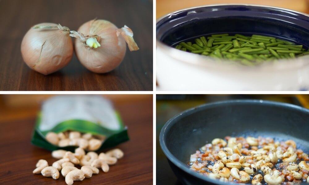 Zwiebeln schälen, schneiden, Bohnen kochen und Cashews mit Speck anrösten