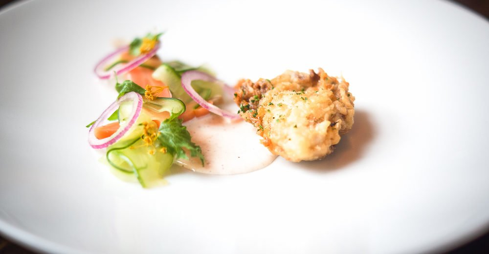 Fried Oysters from Norway with pickled Cucumber and spicy Buttermilk