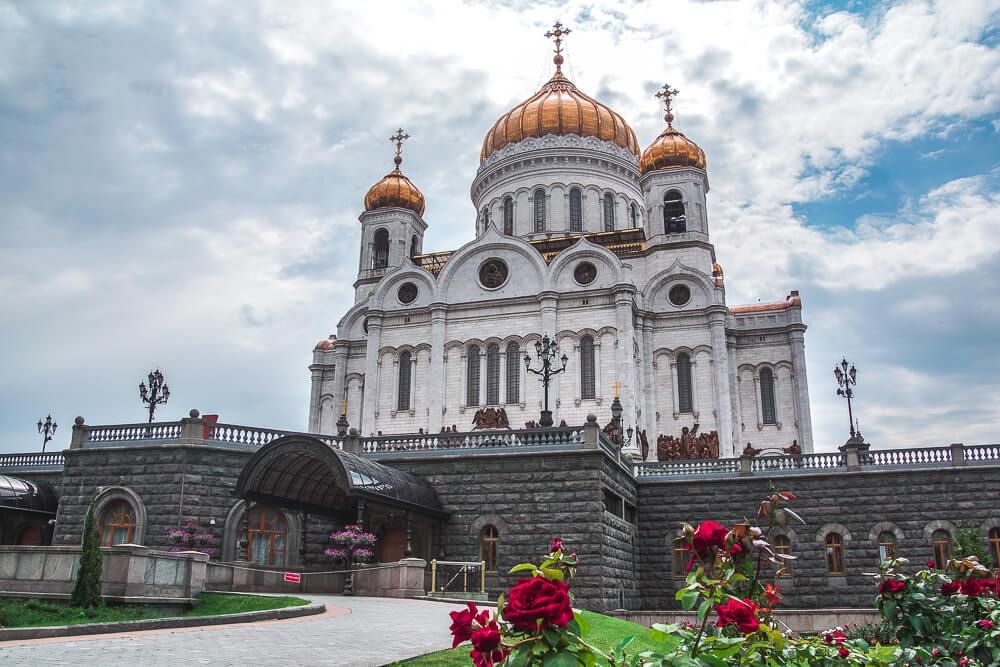 Moskau - Christ Erlöser Kathedrale mit Garten