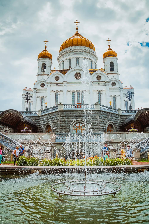 Moskau - Christ Erlöser Kathedrale mit Springbrunnen