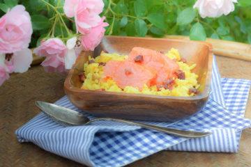 Safran Risotto mit Räucherlachs und Chorizo