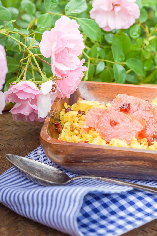 Safran Risotto mit Räucherlachs und Chorizo1