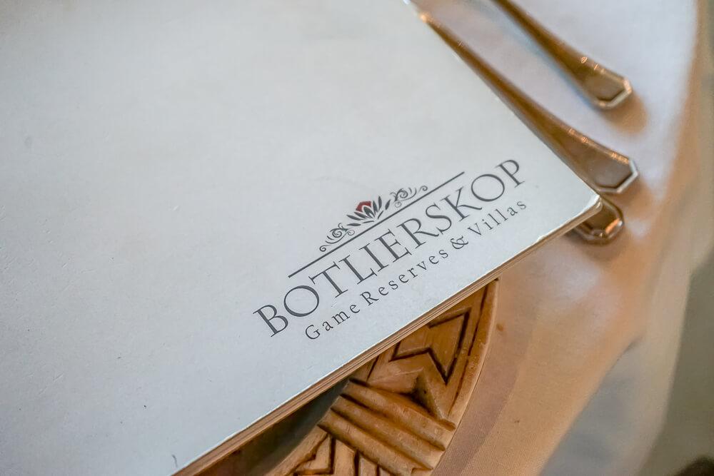 Botlierskop Game Reserve & Villas - Speisenkarte