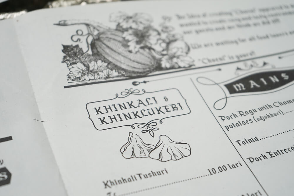 Chveni Restaurant Tiflis - Speisenkarte