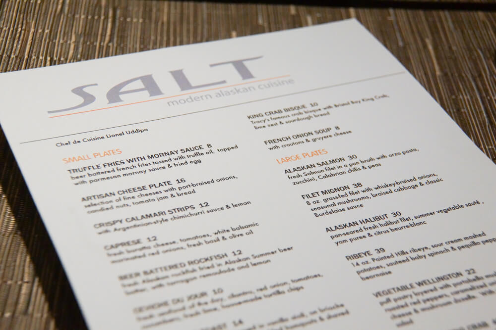 SALT Restaurant, Juneau - Speisenkarte