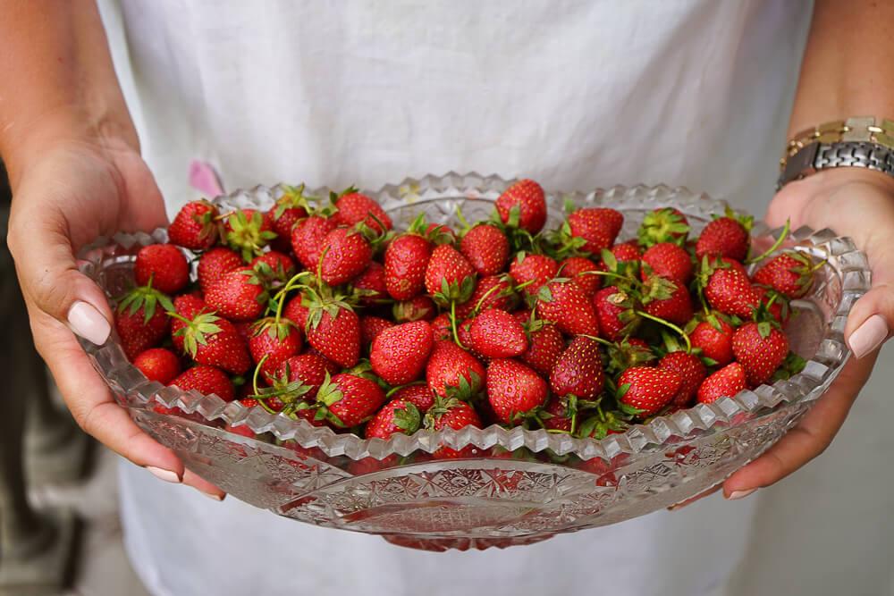 Supra Zeremonie, Georgien - frische Erdbeeren