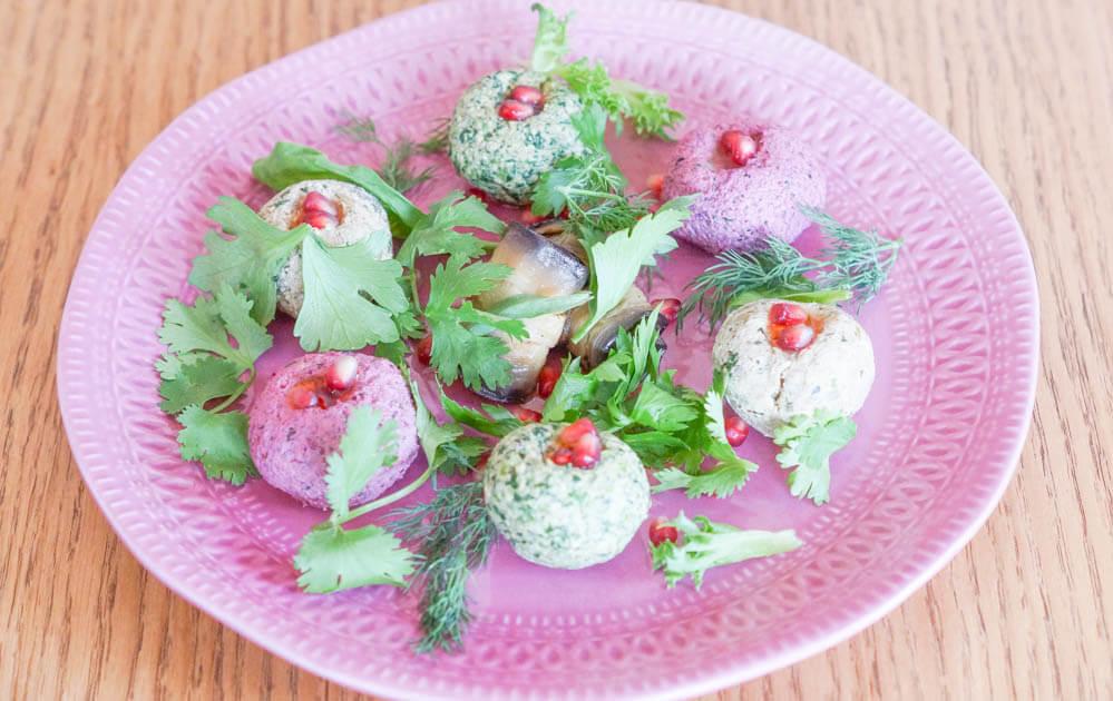 Pkhali mit Spinat, Auberginen, Grüne Bohnen, Roter Beete