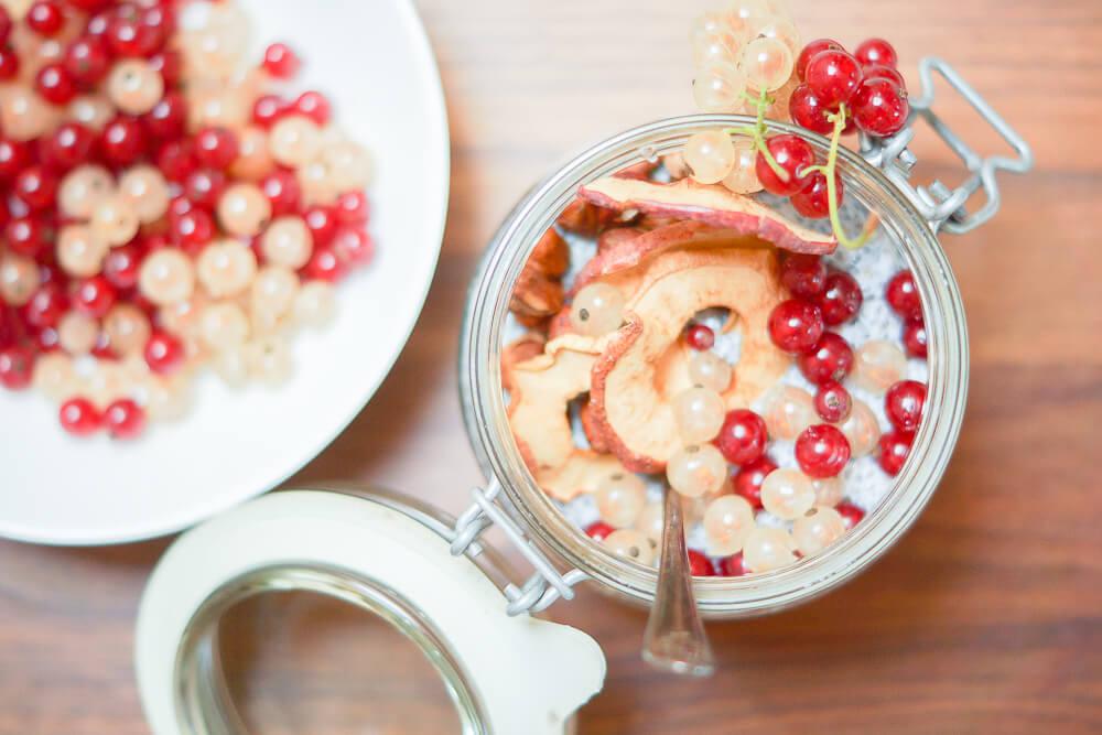 Chia-Pudding mit Johannisbeeren und Haselnüssen -Frontansicht