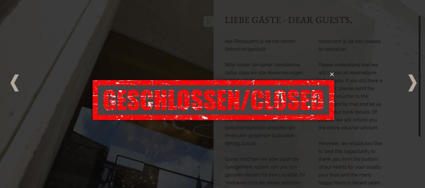 Restaurant la vie geschlossen