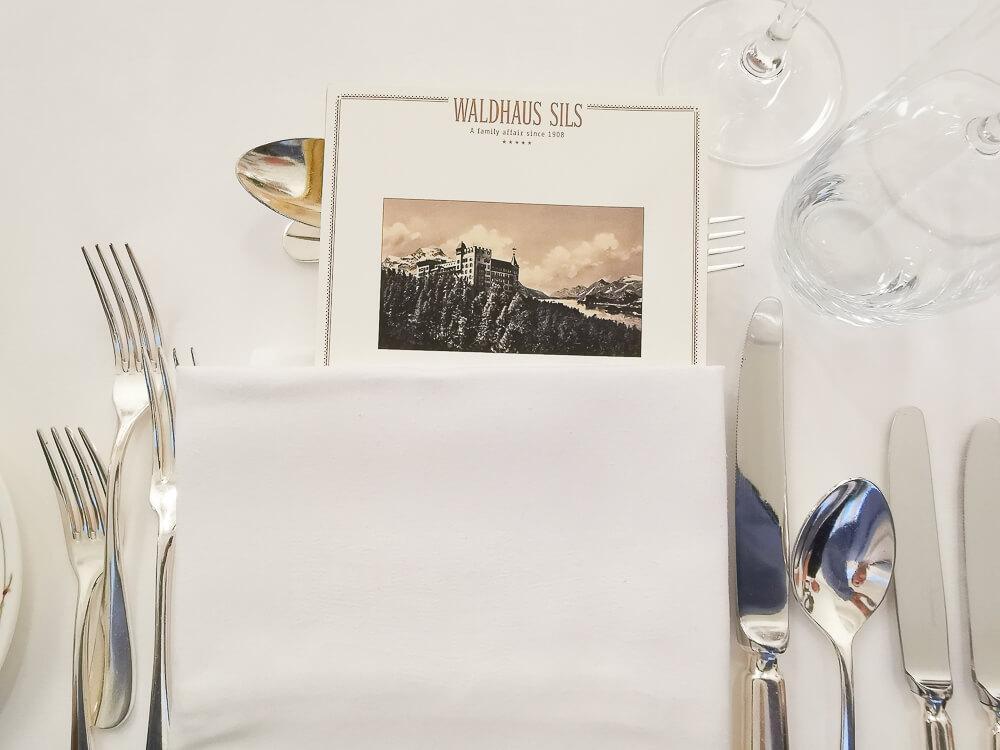 Waldhaus Sils Chefs Table - Menükarte des Abends