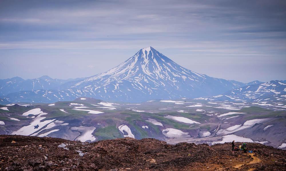 Die Vulkane in der Nähe von Petropawlowsk