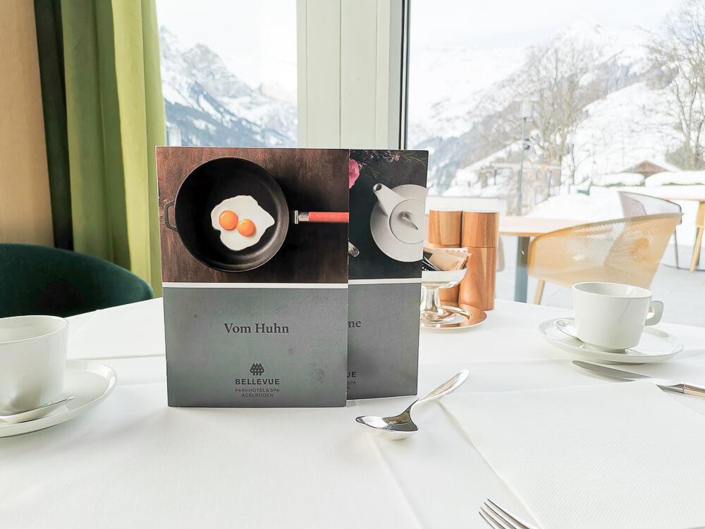 Parkhotel Bellevue & Spa Adelboden - Gourmet HP Eierkarte Teekarte