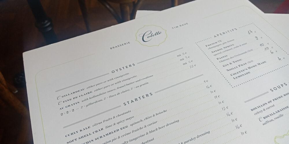 Colette by Tim Raue - übersichtliche Speisenkarte
