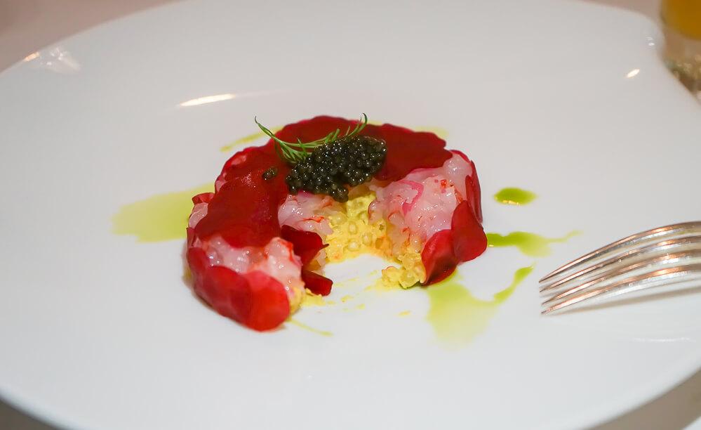 Cristina Bowerman, St. Moritz Gourmet Festival - red prawns tatar, imperial Caviar, Curry tapioca 2