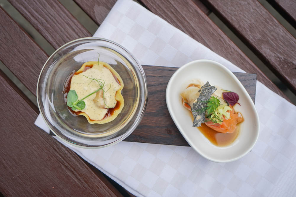 Restaurant Florhof, Zürich - Amuse, Tortellini, Lachs
