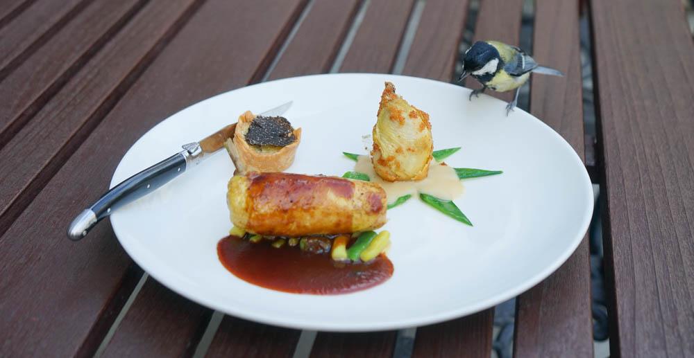 Restaurant Florhof, Zürich - Duo vom Mistkratzerl, Entenleber, Kartoffeltarte mit Australischem Trüffel, Bohnengemüse 3