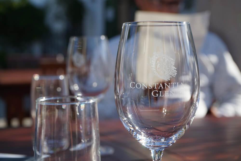 Constantia Glen Weingut, Südafrika - Gläser zum Tasting