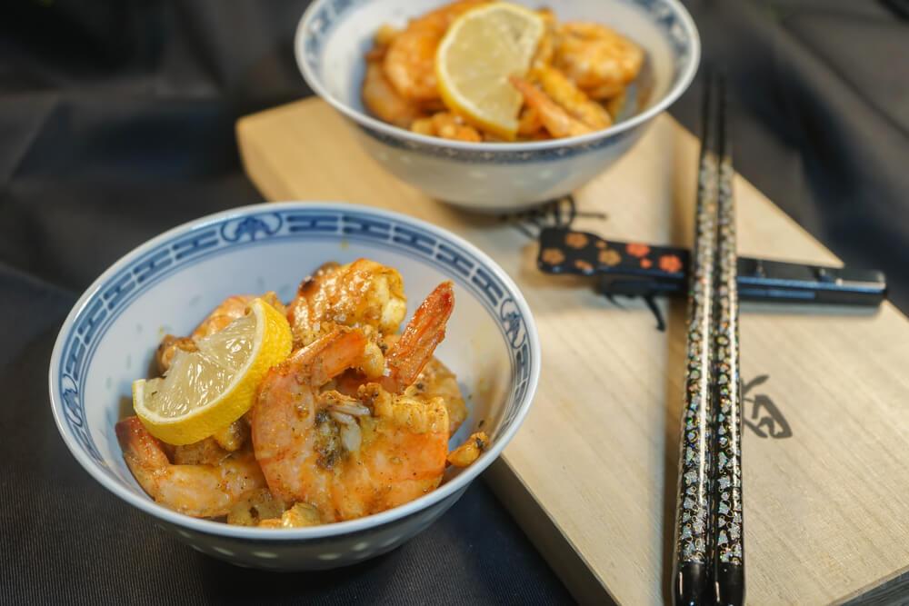 Curry Garnelen mit gerösteten Erdnüssen und Knoblauch 2