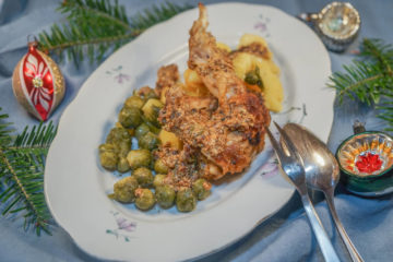 Kaninchenkeule mit Rosenkohl und Kartoffeln
