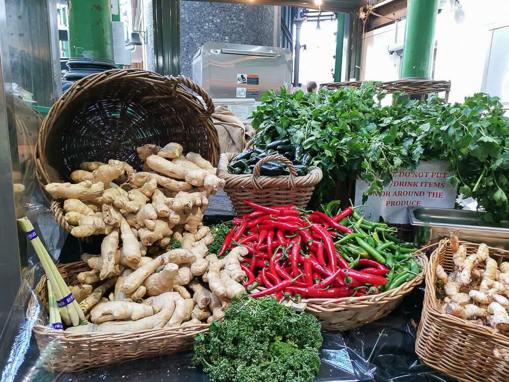 Borough Market, London - Chili Ingwer Auslage