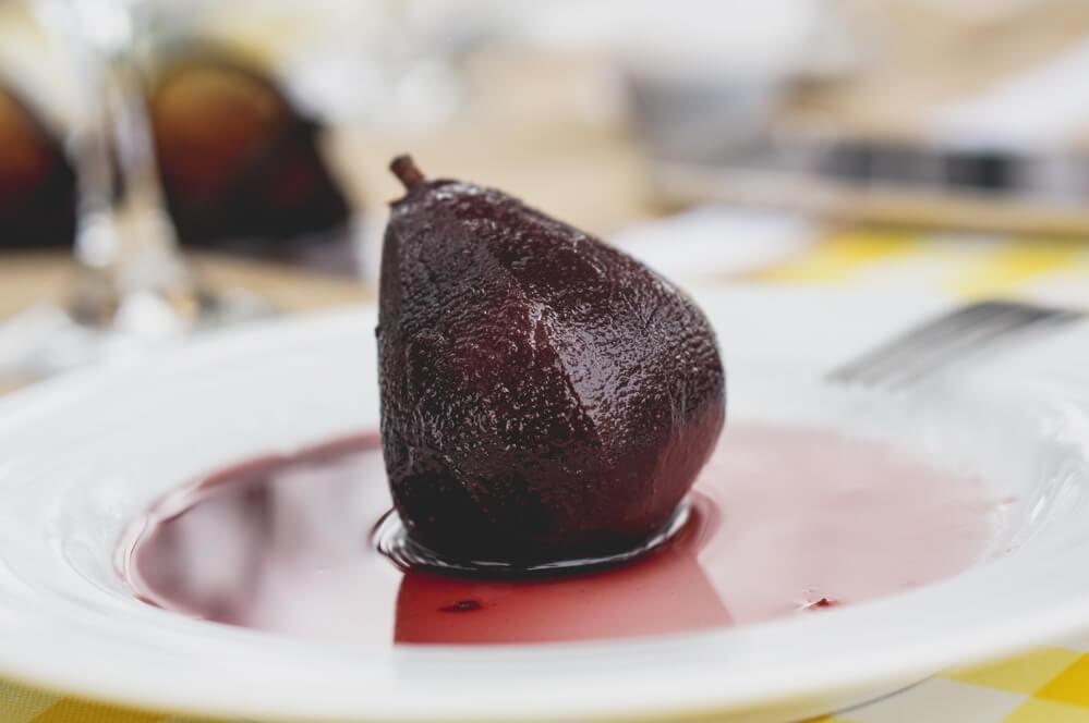 Rotweinbirnen als Dessert oder zum Wild