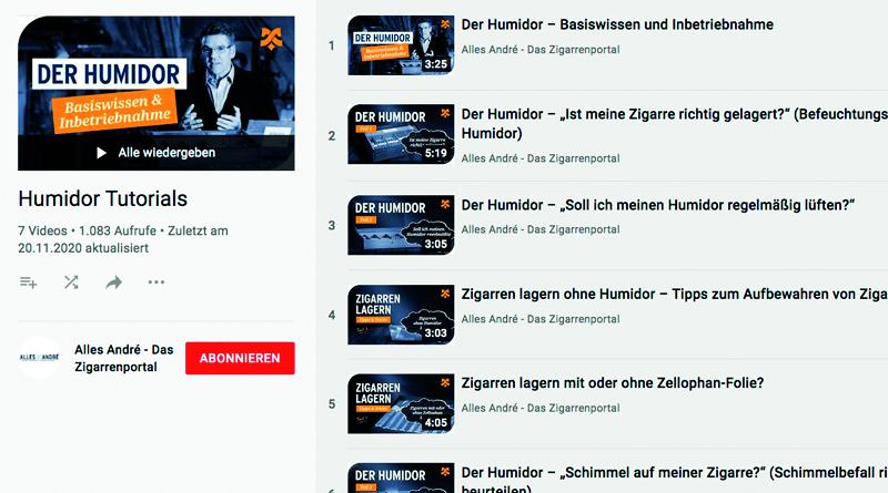 YouTube Videos zum Humidor